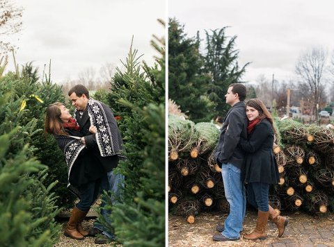 Christmas Tree Farm Engagement Photos  ||  Joy Michelle Photography  ||  Charm City Wed  ||   www.charmcitywed.com