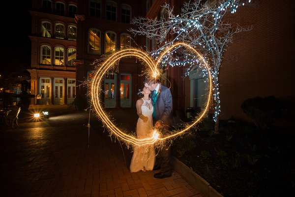 Sparklers at a 1840's Ballroom Wedding  ||   Photography by Brea   ||  Charm City Wed  ||  www.charmcitywed.com
