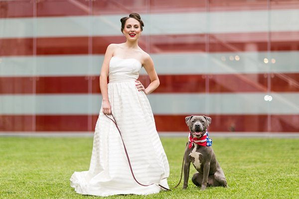 Red, white & blue - blue pitbull - 4th of July Wedding Styled Shoot  ||  tPoz Photography  ||  Pop the Cork Designs    ||  Charm City Wed  ||  www.charmcitywed.com
