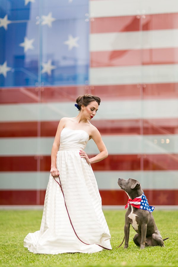Red, white & blue - blue pitbull - 4th of July Inspired Wedding Styled Shoot  ||  tPoz Photography  ||  Pop the Cork Designs    ||  Charm City Wed  ||  www.charmcitywed.com