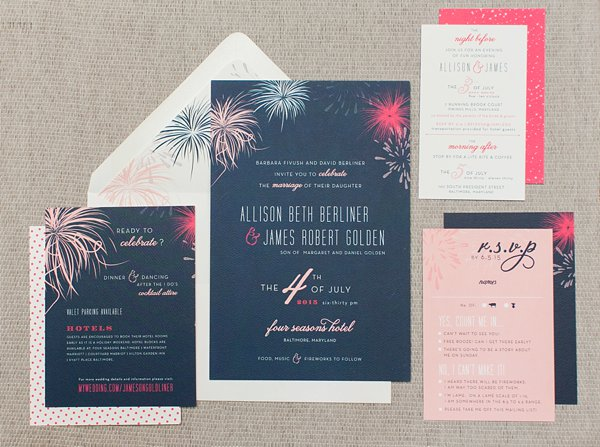 July 4th Wedding Invitations Inspiration - mlc designs  ||   tPoz Photography  ||  Charm City Wed  ||  www.charmcitywed.com