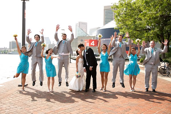 Wedding Party jumping  ||  Borrowed Blue Photography  ||  Charm City Wed  ||  www.charmcitywed.com