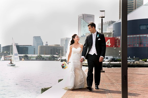 Bride & Groom along the Baltimore Waterfront  ||  Borrowed Blue Photography  ||  Charm City Wed  ||  www.charmcitywed.com