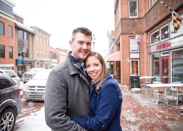 snowy annapolis engagement session by photos from the
