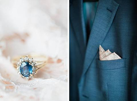 Navy wedding day accents. The blue grooms wedding day suit and a sapphire and diamond wedding ring