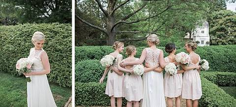 Bride and bridal party with dresses with lace accents. This picture was taken in the gardens of the William Paca House
