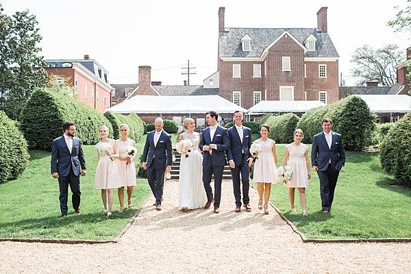 bridal party at the William Paca House in Annapolis Maryland. Image by Tara & Renata
