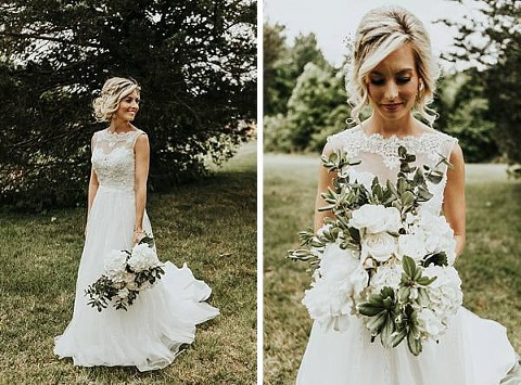 bridal portrait of bride wearing a line dress with lace top and beaded bodice. There is another picture with the bridal bouquet of all white flowers.