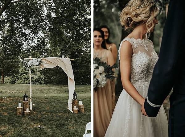 Ceremony alter and ceremony image taken in Bowe Maryland Backyard Wedding by We Are the Cashmans