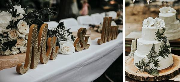 Head Table Carved Mr & Mrs Signs and Wedding Cake are pictured here by We Are the Cashmans for Charm City Wed